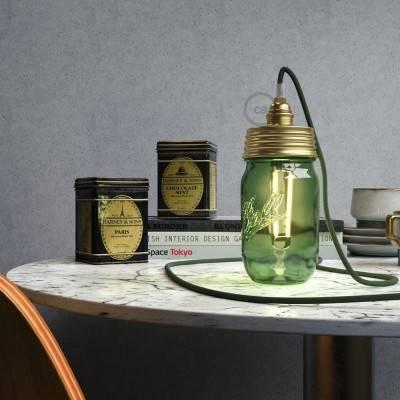 Goudkleurige metalen cocktail pot hanglamp kit met conische trekontlasting en E14 messing metalen fitting