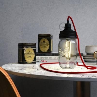 Zwarte cocktail pot hanglamp kit met conische trekontlasting en E14 zwart bakeliet fitting