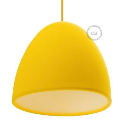 Gele siliconen lampenkap met diffuser en trekontlaster. Diameter 25 cm.