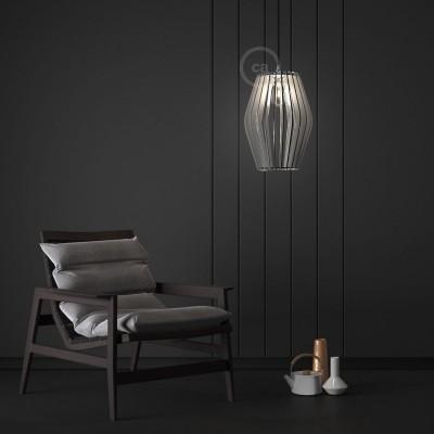 Verlichtingspendel E27 geschikt voor lampenkap. Hanglamp met natuurlijk antraciet linnen textielkabel – RN03