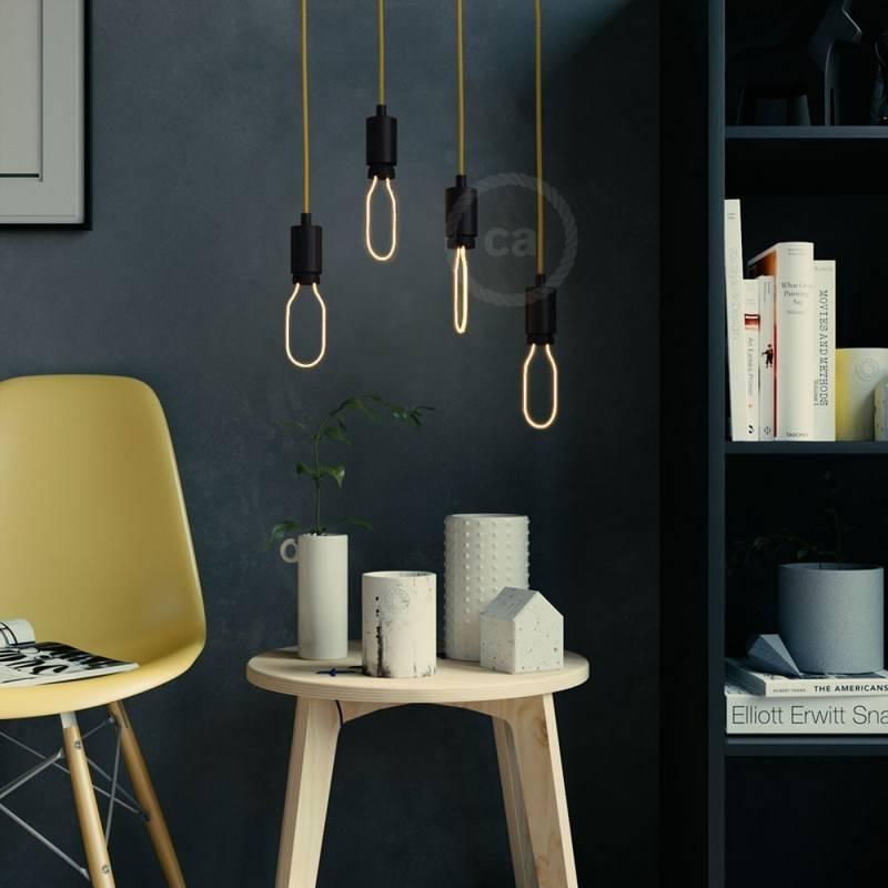 Verlichtingspendel E27 geschikt voor lampenkap. Hanglamp met wit katoen textielkabel – RC01