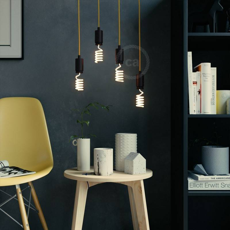 Verlichtingspendel E27 geschikt voor lampenkap. Hanglamp met natuurlijk linnen textielkabel – RN01