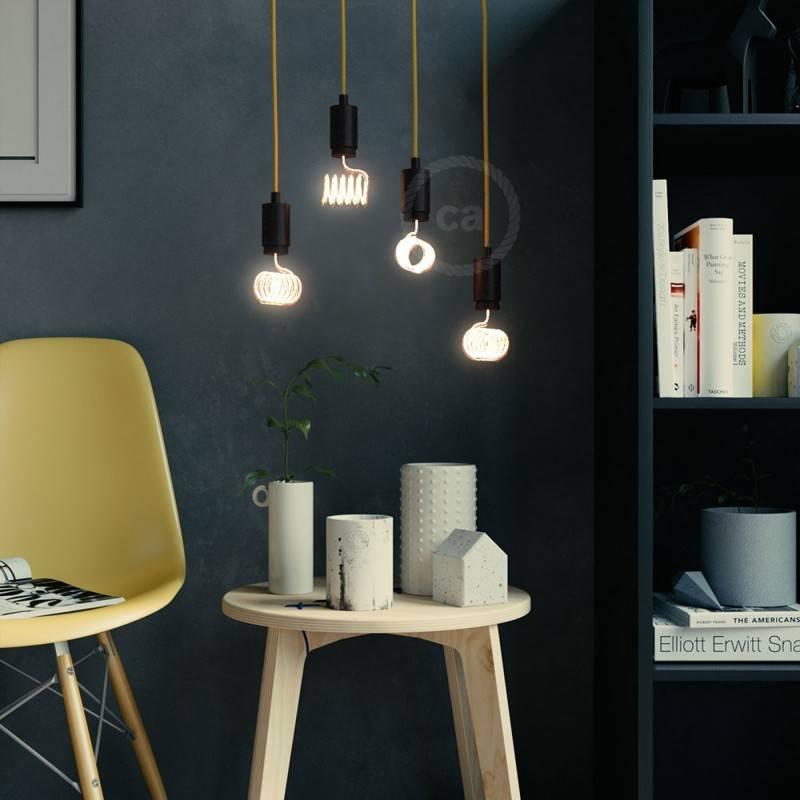 Verlichtingspendel E27 geschikt voor lampenkap. Hanglamp met zigzag motief bruin linnen en katoen textielkabel – RD73
