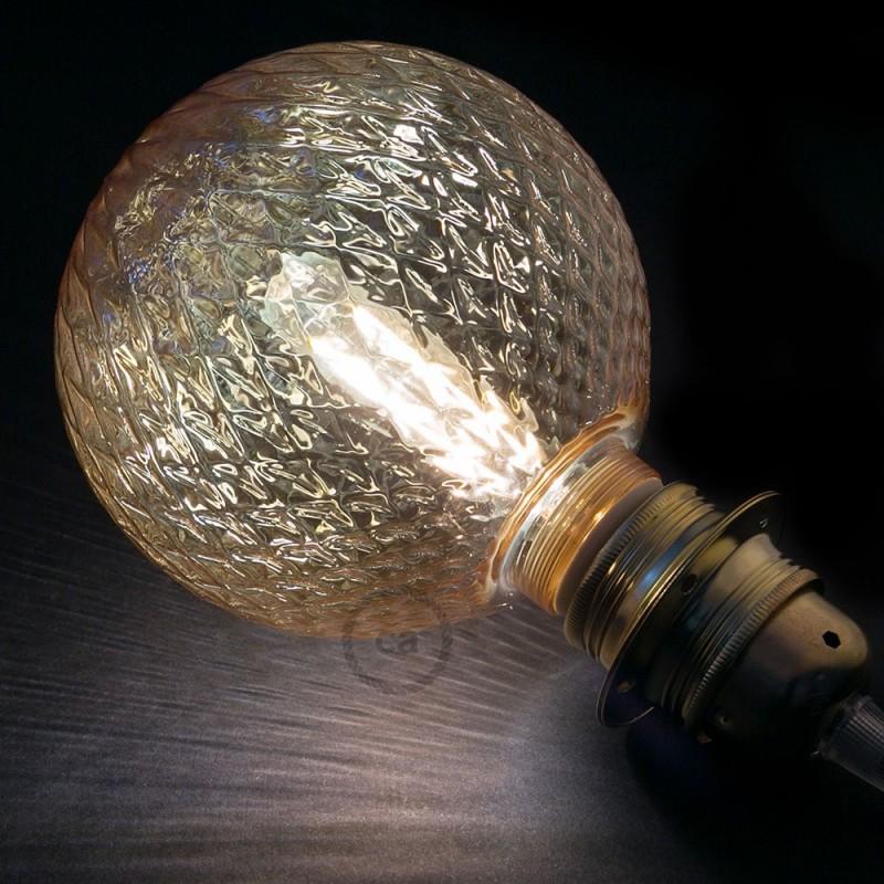 Verlichtingspendel E27 geschikt voor lampenkap. Hanglamp met koper glinsterend viscose textielkabel – RL22