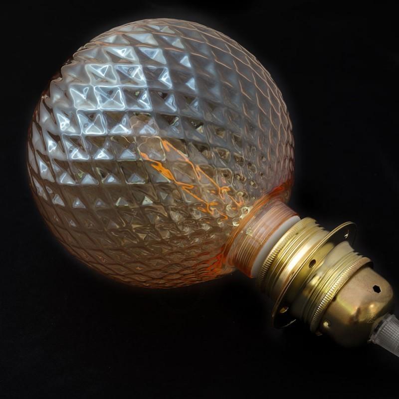 Verlichtingspendel E27 geschikt voor lampenkap. Hanglamp met bruin glinsterend viscose textielkabel – RL13
