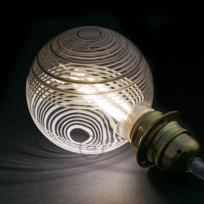 Verlichtingspendel E27 geschikt voor lampenkap. Hanglamp met zilver glinsterend viscose textielkabel – RL02