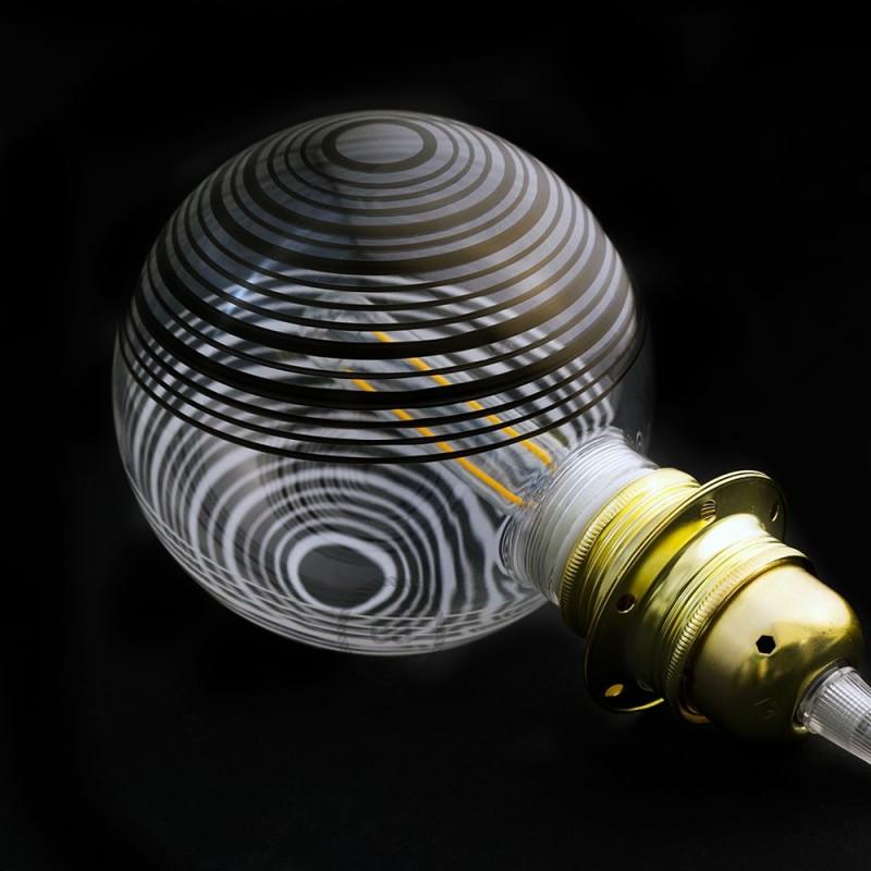 Verlichtingspendel E27 geschikt voor lampenkap. Hanglamp met wit glinsterend viscose textielkabel – RL01