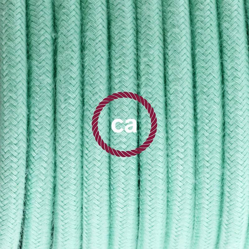 Ronde flexibele textielkabel van katoen met schakelaar en stekker. RC34 - melk en mint 1,80 m.