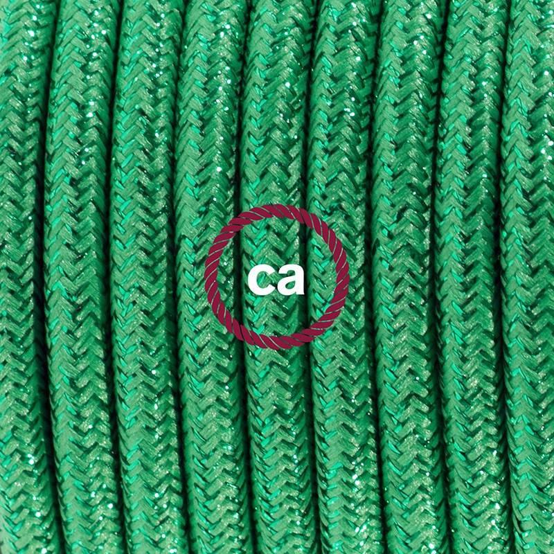 Ronde flexibele glinsterende textielkabel van viscose met schakelaar en stekker. RL06 - groen 1.80 m.