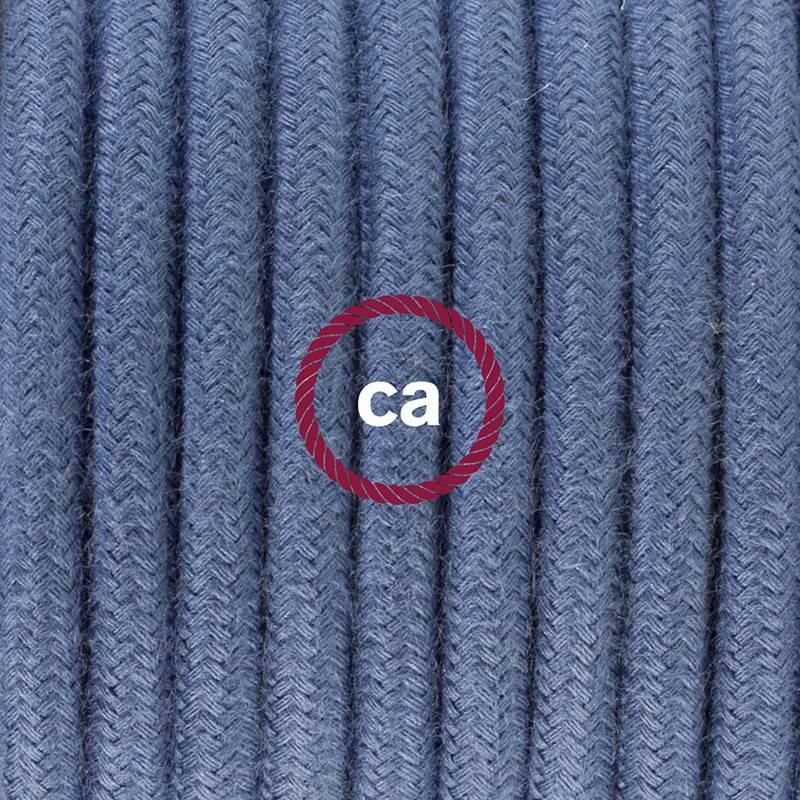 Ronde flexibele textielkabel van katoen met schakelaar en stekker. RC30 - steengrijs 1,80 m.