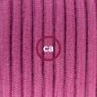 Ronde flexibele textielkabel van katoen met schakelaar en stekker. RC32 - burgundy 1,80 m.