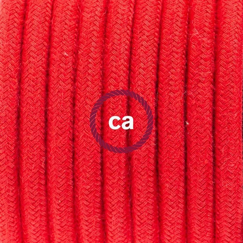 Ronde flexibele textielkabel van katoen met schakelaar en stekker. RC35 - vuurrood 1,80 m.