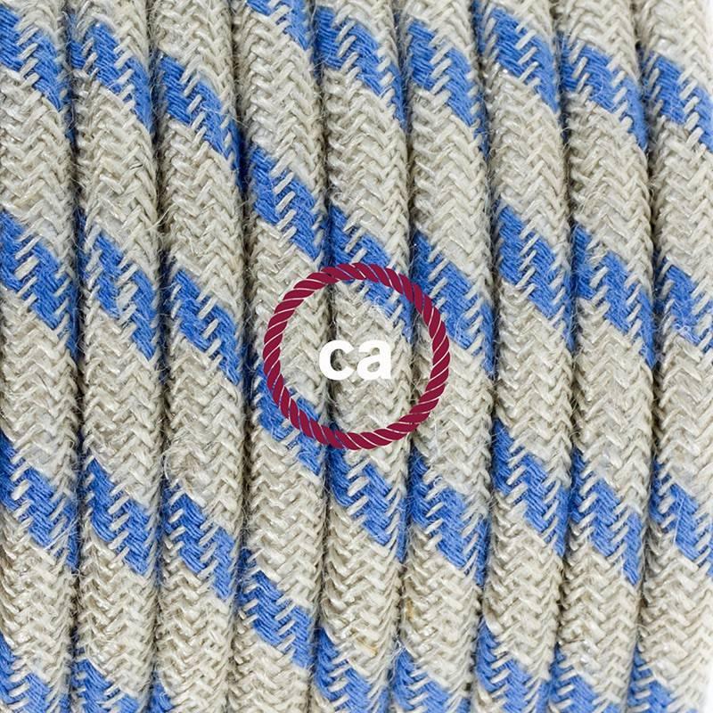Ronde flexibele textielkabel van katoen met schakelaar en stekker. RD55 - Steward blauwe strepen en linnen 1,80 m.