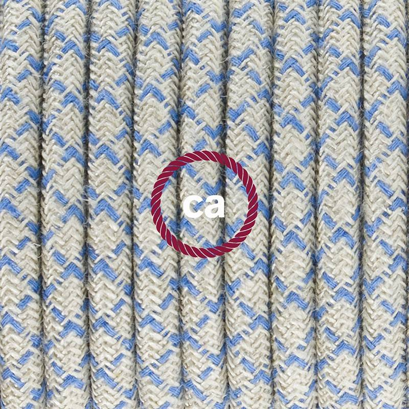 Ronde flexibele textielkabel van katoen met schakelaar en stekker. RD65 - Steward blauw lozenge en linnen 1,80 m.