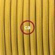 Ronde flexibele textielkabel van viscose met schakelaar en stekker. RM25 - mosterd geel 1,80 m.
