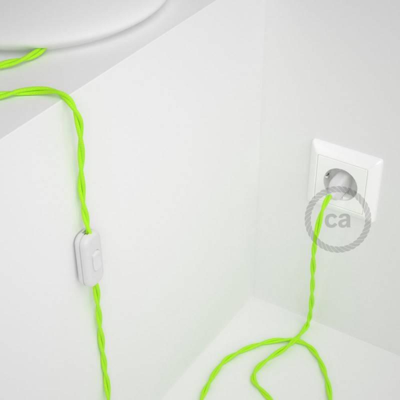 Gevlochten textielkabel van viscose met schakelaar en stekker. TF10 - fluo geel 1,80 m.