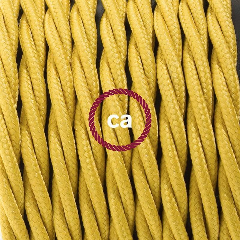 Gevlochten textielkabel van viscose met schakelaar en stekker. TM25 - mosterd geel 1,80 m.