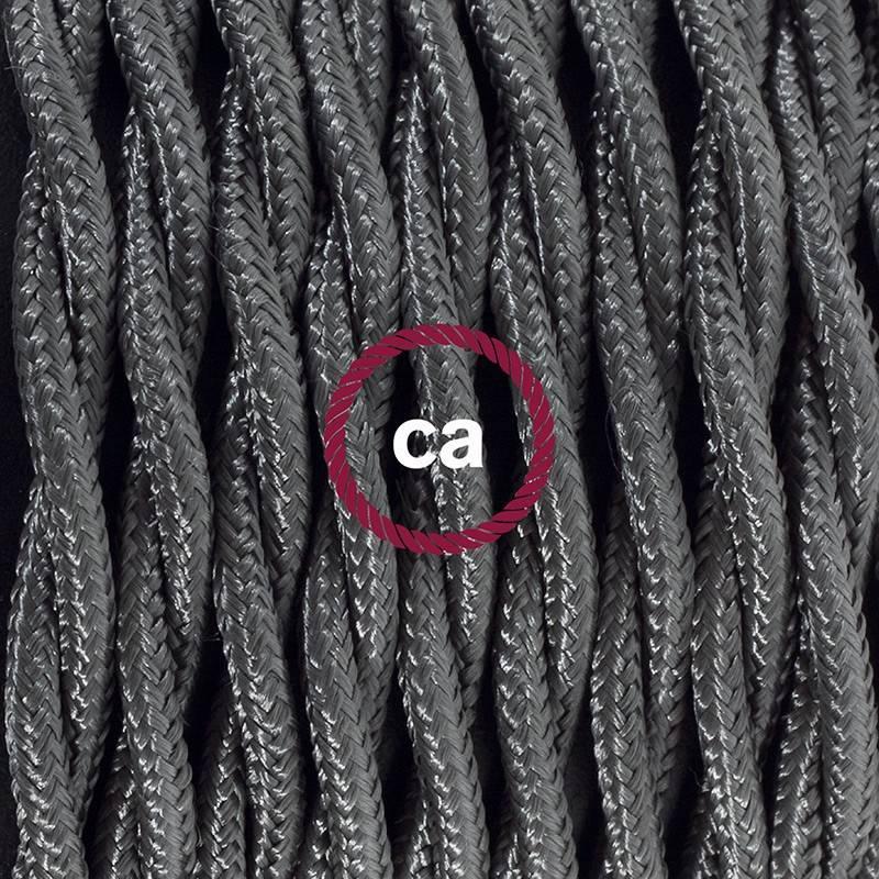 Gevlochten textielkabel van viscose met schakelaar en stekker. TM26 - donkergijs 1,80 m.