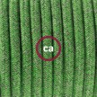 Strijkijzersnoer set RX08 pistachegroen katoen 1,80 m. voor tafellamp met stekker en schakelaar.