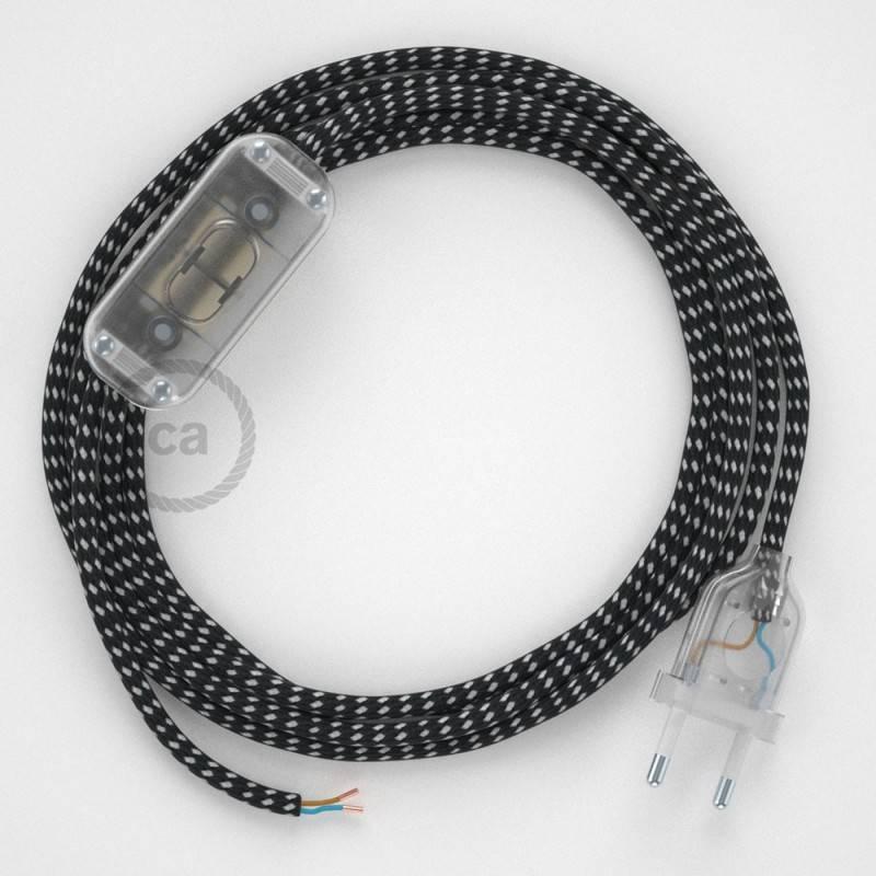 Strijkijzersnoer set RT41 sterretjes viscose 1,80 m. voor tafellamp met stekker en schakelaar.