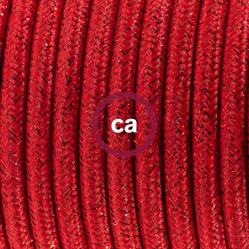 Strijkijzersnoer set RL09 rood viscose 3 m. voor staande lamp met stekker en voetschakelaar.