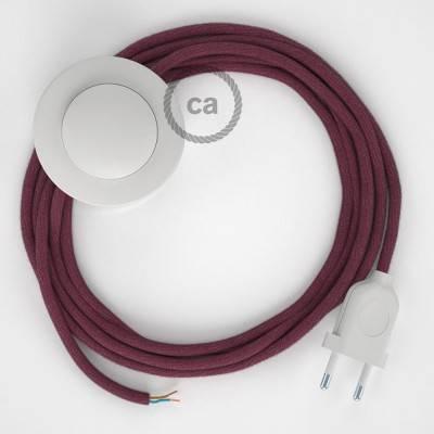 Strijkijzersnoer set RC32 burgundy katoen 3 m. voor staande lamp met stekker en voetschakelaar.