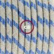 Strijkijzersnoer set RD55 Steward blue strepen katoen en natuurlijk linnen 3 m. voor staande lamp met stekker en voetschakelaar.