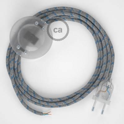 """Stekkerdoos met strijkijzersnoer van rood viscose RM09 en randaarde stekker met comfortabele """"ring"""" grip"""