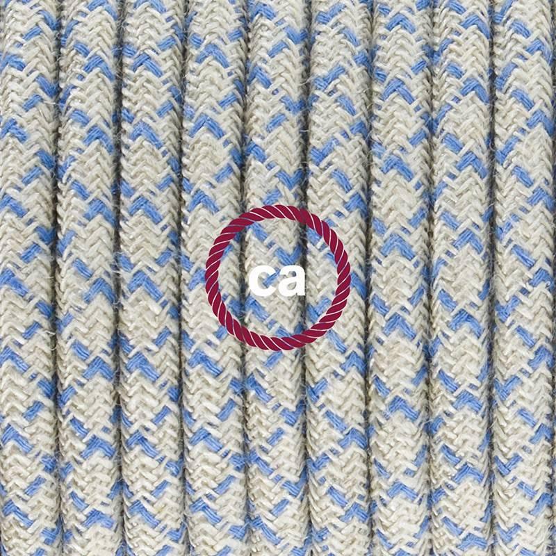 Strijkijzersnoer set RD65 Steward blue diamant katoen en natuurlijk linnen 3 m. voor staande lamp met stekker en voetschakelaar.