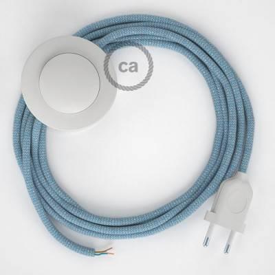 Strijkijzersnoer set RD75 Steward blue zigzag katoen en natuurlijk linnen 3 m. voor staande lamp met stekker en voetschakelaar.
