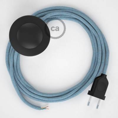 """Stekkerdoos met gevlochten strijkijzersnoer van zilver viscose TM02 en randaarde stekker met comfortabele """"ring"""" grip"""