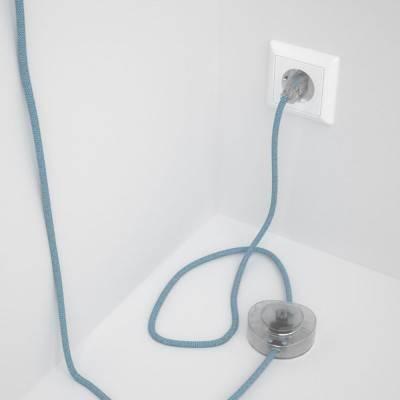 """Stekkerdoos met gevlochten strijkijzersnoer van wit viscose TM01 en randaarde stekker met comfortabele """"ring"""" grip"""