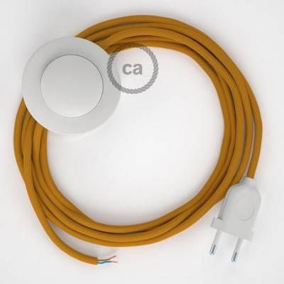 """Stekkerdoos met gevlochten strijkijzersnoer van goud viscose TM05 en randaarde stekker met comfortabele """"ring"""" grip"""