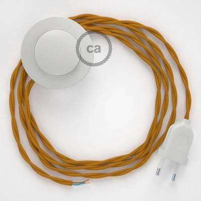 Strijkijzersnoer set TM25 mosterd viscose 3 m. voor staande lamp met stekker en voetschakelaar.