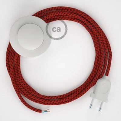 Strijkijzersnoer set RT94 duivelsrood viscose 3 m. voor staande lamp met stekker en voetschakelaar.