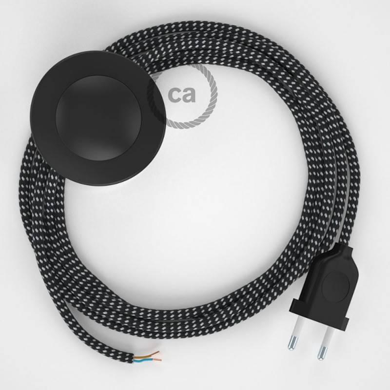 Verlengkabel 2P 10A met rond flexibel strijkijzersnoer RC13 van bruin katoen