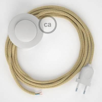 Strijkijzersnoer set RN06 jute 3 m. voor staande lamp met stekker en voetschakelaar.
