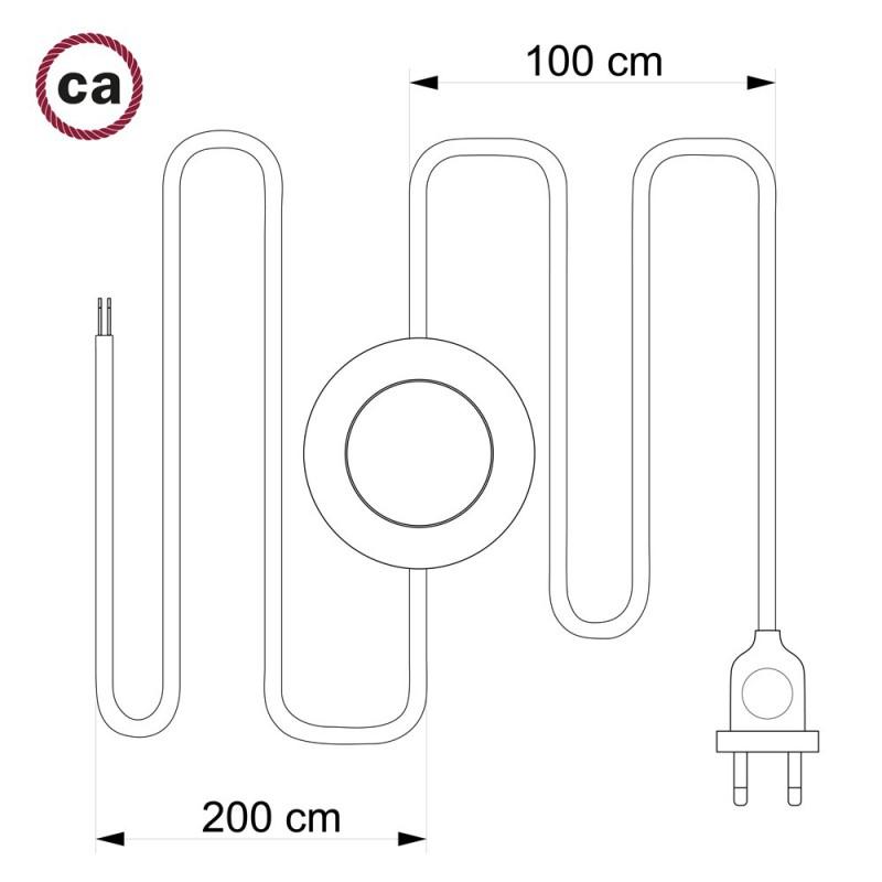 Verlengkabel 2P 10A met rond flexibel strijkijzersnoer RC63 van groengrijs katoen