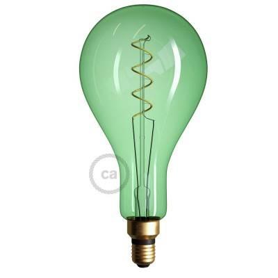 XXL LED Emerald Lichtbron - Pear A165 gebogen spiraal kooldraad - 5W E27 dimbaar 2200K