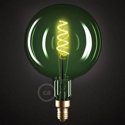 XXL LED Emerald Lichtbron – Globe G200 gebogen spiraal kooldraad - 5W E27 dimbaar 2200K