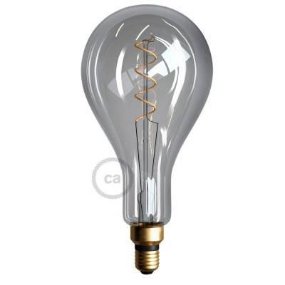 XXL LED Smoky Lichtbron - Pear A165 gebogen spiraal kooldraad - 5W E27 dimbaar 2200K