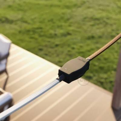 Verlengkabel 2P 10A met rond flexibel strijkijzersnoer RS81 van zwart katoen en natuurlijk linnen