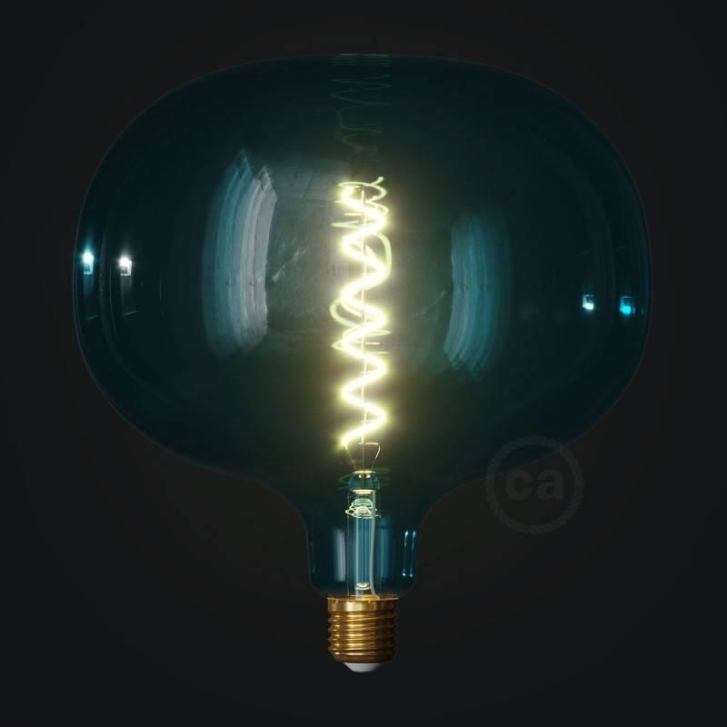 Druppel vorm draadframe lampenkap van gepolijst zwart metaal met klem fittingbevestiging