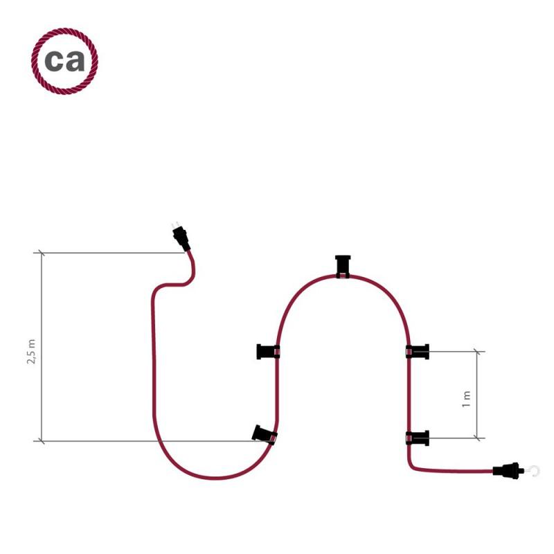 """""""Snake"""" snoerlamp met extra lang strijkijzersnoer bordeauxrood linnen en katoen RS83"""