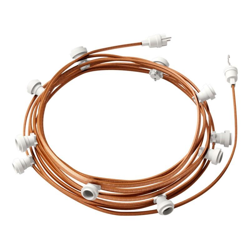 """""""Snake"""" snoerlamp met extra lang strijkijzersnoer gevlochten wit viscose TM01"""