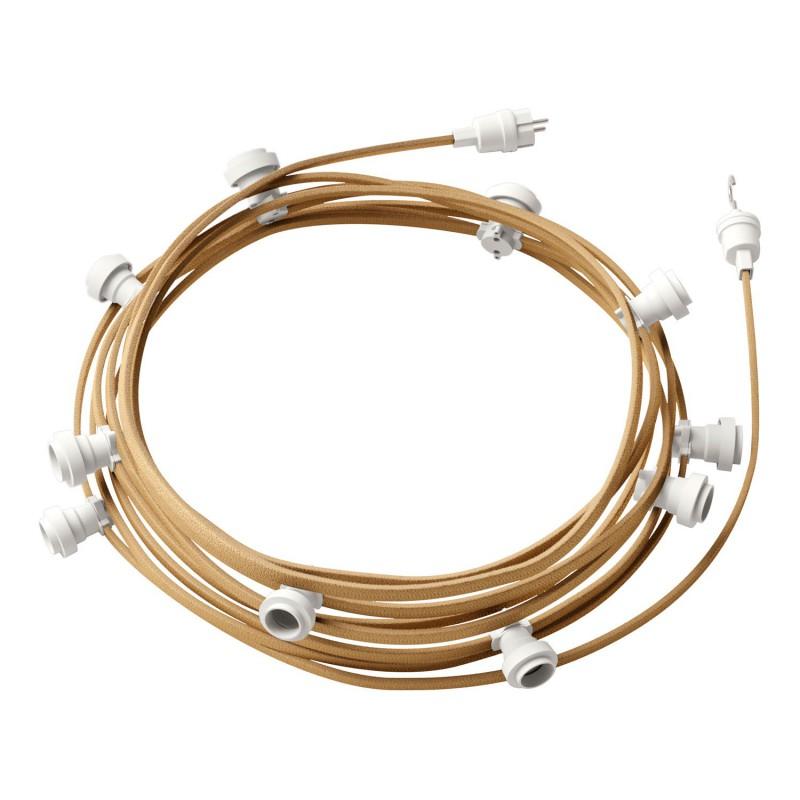 """""""Snake"""" snoerlamp met extra lang strijkijzersnoer gevlochten geel viscose TM10"""