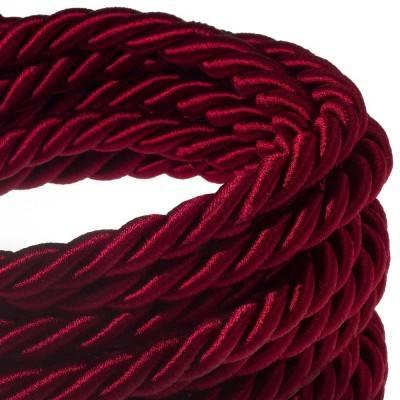 Electrische XL touwkabel, 3 x 0,75 mm. Binnenkabels bedekt met bordeaux textiel. Diameter 16 mm.