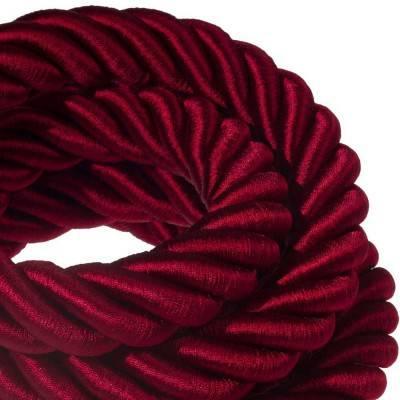 Electrische 3XL touwkabel, 3 x 0,75 mm. Binnenkabels bedekt met bordeaux textiel. Diameter 30 mm.