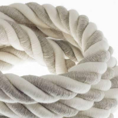 Electrische 3XL touwkabel, 3 x 0,75 mm. Binnenkabels bedekt met textiel, katoen en natuurlijk linnen. Diameter 30 mm.