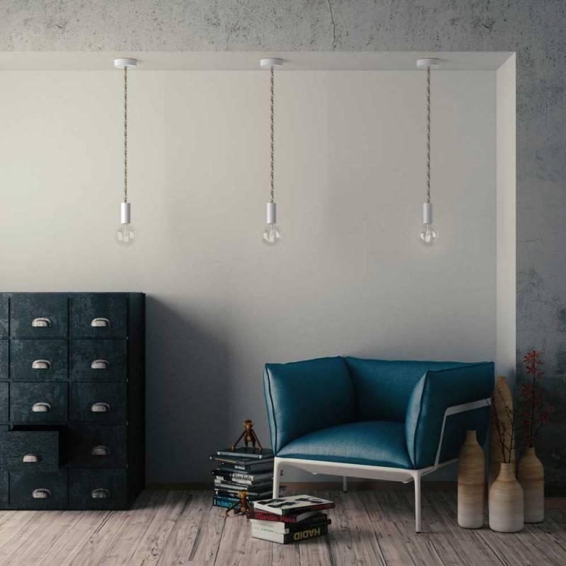 """""""Snake"""" hanglamp met extra lang strijkijzersnoer blauw viscose RM12"""